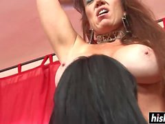 Nasty girls try out big sex toys