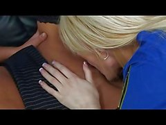 British blonde slut in a FFFM foursome in stockings