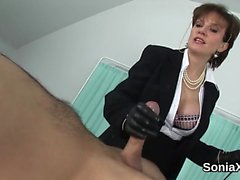 Unfaithful english milf lady sonia flashes her huge tits