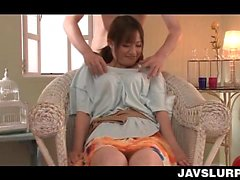 Arousing Japanese babe grabbed by her sexy tits and teased