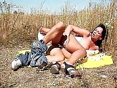 Horny MILF gets fucked hard outdoor part1