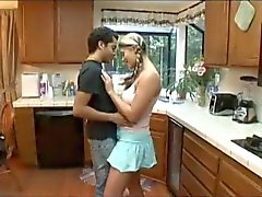 college girl horny in her parents kitchen