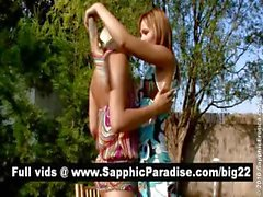 Sensual redhead and blonde lesbians kissing and having lesbian love