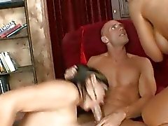 Two gorgeous horny busty milf sluts with big asses gets fucked hard