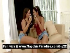Amazing brunette lesbos kissing and licking nipples and having lesbo sex