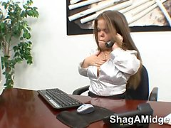 Brunette secretary gets fucked on table