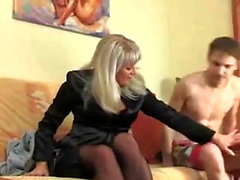 Blonde Mature Amateur In Stockings Finger Fucked