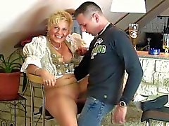 Blond mom enjoys beer and cum