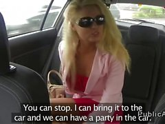 Hot blonde amateur banging in the car