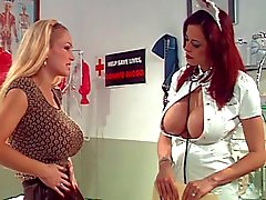 Big tits nurse giving cleaning to another hottie