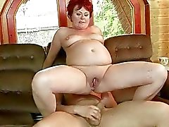 Fat grandma gets her tight pussy fucked hard