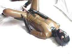 Japanese Latex Doll Masturbates and Self Fist Yobi-18
