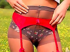 hot striptease outdoor by the forest