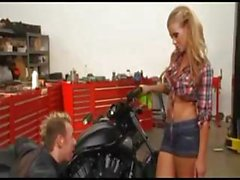 Blonde babe with nice tits sucks and gets fucked by mechanic
