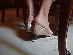 Bare Feet In Tan Pointy Heels Shoeplay