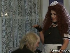 Naughty Maid eats a butlers huge dick at the dinner