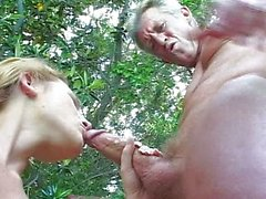 Young girl sucking old grandpa dick outdoors