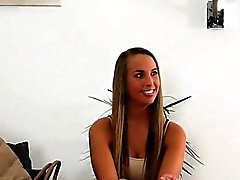 Long haired tanned blonde banged on casting