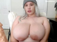 GIGANTIC BOOBS BBW TEEN CAM GIRL sucking a dildo pt1