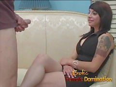 Loser gets his balls kicked by a hot dominant brunette