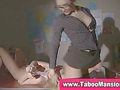 Spex clad lesbian mistress face sits on bound hoe in hd