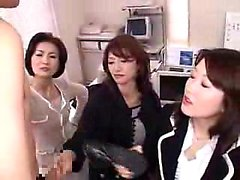 Three insatiable Oriental secretaries share a hard cock in