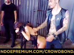 CROWD BONDAGE - BDSM public sex with hot Emily Ross