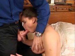 Horny French wife with big tits gets fucked by a young guy on the bed
