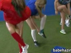 College sorority playing naked football and pussy licking