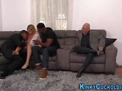 Stacked blonde cuckolding with bbcs