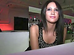 Brunette barmaind gets fucked behind the bar