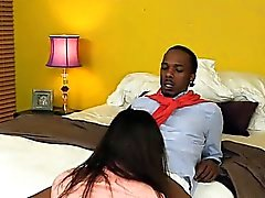 Jazmyn and Paris Lincoln interracial threeway action in bed