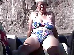 Hairy British Mature Masturbation in the boat