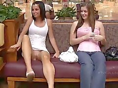 Sexy busty danielle and girlfriend flashing public store