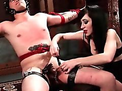 Kinky mistress torturing her male sex slave