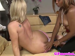 Ebony lezz pussyeating white babes insatiable beaver