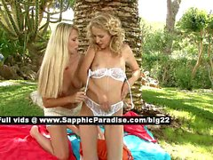 Judit and Celine lesbo teen babes licking