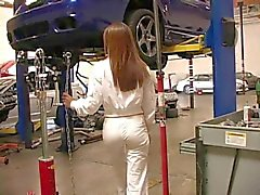 Candice cute redhead babe goes to a mechanical workshop
