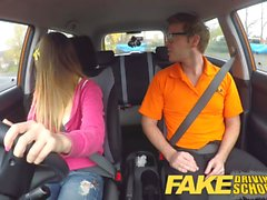 Fake Driving School Big tits Italian student fucks for exam