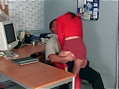 Office sex with a petite secretary fucking in sheer red stockings