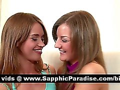 Superb brunette lesbos kissing and having lesbo sex on the couch
