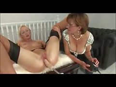 Blonde MILF on dildo chair and fuckmachine