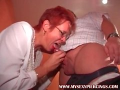 My Sexy Piercings Granny with pierced nipples riding cock