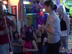 Slutty babes get horny at a party
