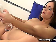 Pussy pumping and pissing for brunette Alyssa Reece