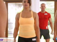 Fitness Rooms Sweaty cleavage in a room full of yoga babes