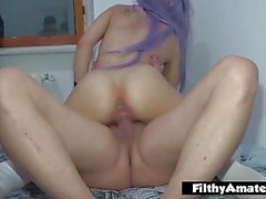 Young cosplay girl takes it in the ass in amateur real orgy