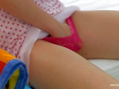 Cutie Leo in pink panties touches herself