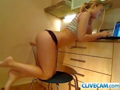 Horny russian blonde masturbates on cam