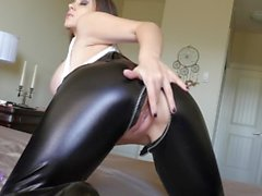 Bryci Masturbates in Shiny Pants with Two Toys!